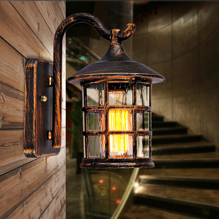 new american country style outdoor wall lamp retro waterproof courtyard light for bar coffee shop vintage antique courtyard outdoor lighting 1
