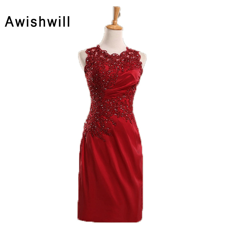 Short   Evening     Dress   for Women Sleeveless Applique Beadings Satin Sleeveless in Burgundy Mother of The Bride   Dress   For Weddings