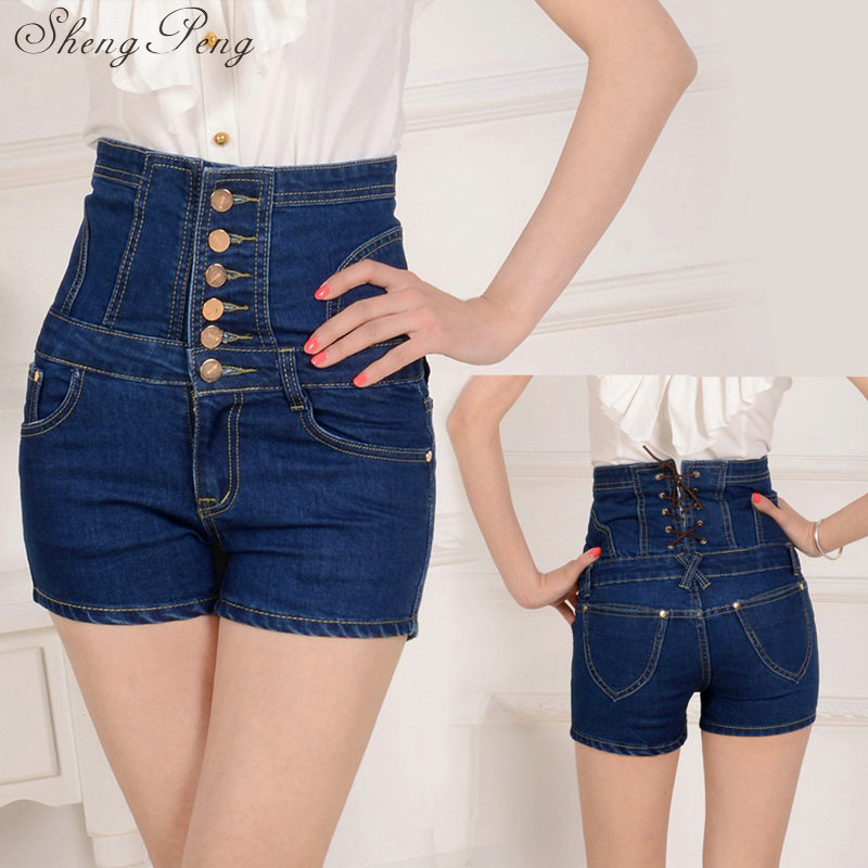 2018 Women summer micro shorts causal solid high wasit button fly mini short jeans skinny sexy denim shorts for women CC438