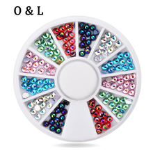 New Arrvial Mix 6colors Glitter Acrylic Nail Tips Decoration Wheel DIY 3d Charm Nail Art Accessories Tools