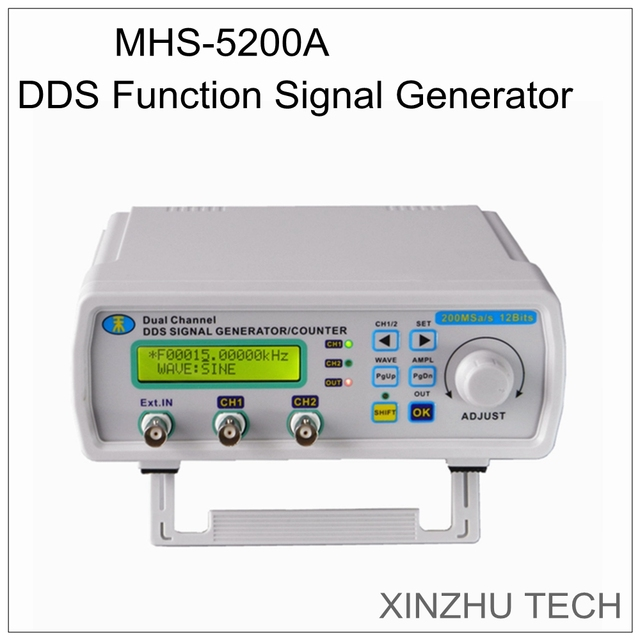 JUNTEK MHS5200A 12MHZ Dual channel Digital Signal Generator DDS Function  Frequency Arbitrary Waveform/Pulse