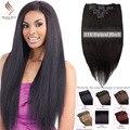 """Clip en productos conjuntos de clip en extensiones de cabello humano natural negro 14 """"-30"""" 8A grado extensiones de cabello humano recto color natural"""