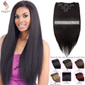 "clip in sets products natural black clip in human hair extensions 14""-30"" straight natural colour 8A grade human hair extensions"