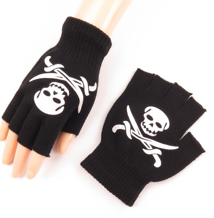 Men And Women's Winter Knitted Semi-finger Glove Unisex Skull Bone Print Punk Performance Dancing Glove R208