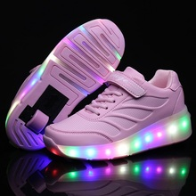 d1b85d53a الاطفال متوهجة رياضية رياضية مع عجلات مصباح ليد يصل زلاجات دوارة الرياضة  مضيئة المضاء أحذية للأطفال