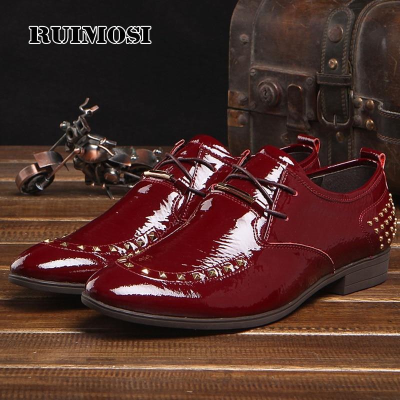 RUIMOSI Round Toe Man Studded Formal Dress Shoes Male Patent Leather Designer Oxfords Luxury Brand Men's Wedding Footwear FK25