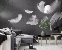 beibehang Custom wallpaper feather black and white minimalist Nordic TV background wall living room bedroom mural 3d wallpaper free shipping acropolis retro black and white photo mural wallpaper study room bedroom living room wallpaper