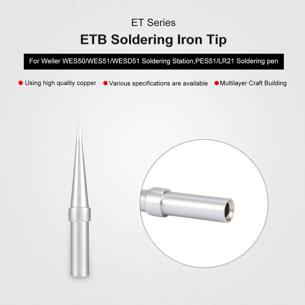 2Pcs ET Soldering Iron Tips ETO Welding Tools ETS Soldering Tip For Weller WES50/WES51/WESD51 Soldering Station Rapid Heating
