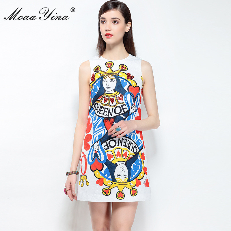 MoaaYina 2018 Fashion Designer Runway Dress Summer Women Sleeveless Jacquard Playing Cards Character Sequins Print Casual Dress