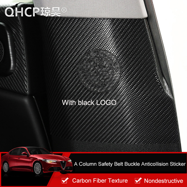 QHCP หนังประตูคอลัมน์ความปลอดภัยเข็มขัด Anti-collision สติกเกอร์สำหรับ Alfa Romeo Giulia คาร์บอนไฟเบอร์สไตล์อุปก...