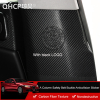 QHCP Leather Carbon Fiber Style Door A Column Safety Belt Buckle Anti collision Sticker For Afla Romeo Giulia Auto Accessories