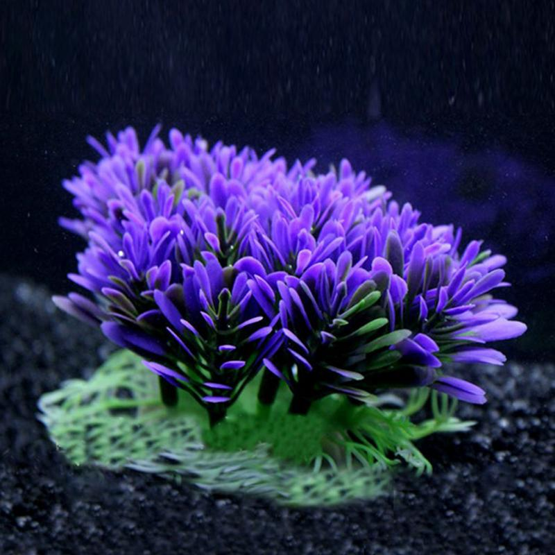 Soft Purple Aquarium Underwater Water Plant Fish Tank Water Plants For Home Decoration(China)
