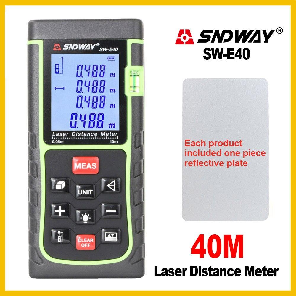 SNDWAY Telemetro Palmare Misuratore di Distanza Laser Range Finder Strumento Mano Nastro Trena Righello Tester SW-E40/50/60/ 70/80/100/120/150