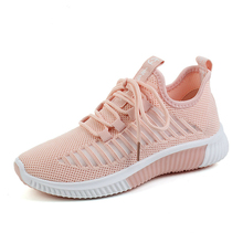 Buy Luxury 2019 New Women Shoes Flats Fashion Sneakers Flying Mesh Casual Shoes Woman Breathable Lace-Up Ladies Shoes High Quality directly from merchant!