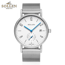 men's quartz watch SOLLEN fashion top brand wristwatche white Big dial Steel mens watches top brand luxury relogio masculino