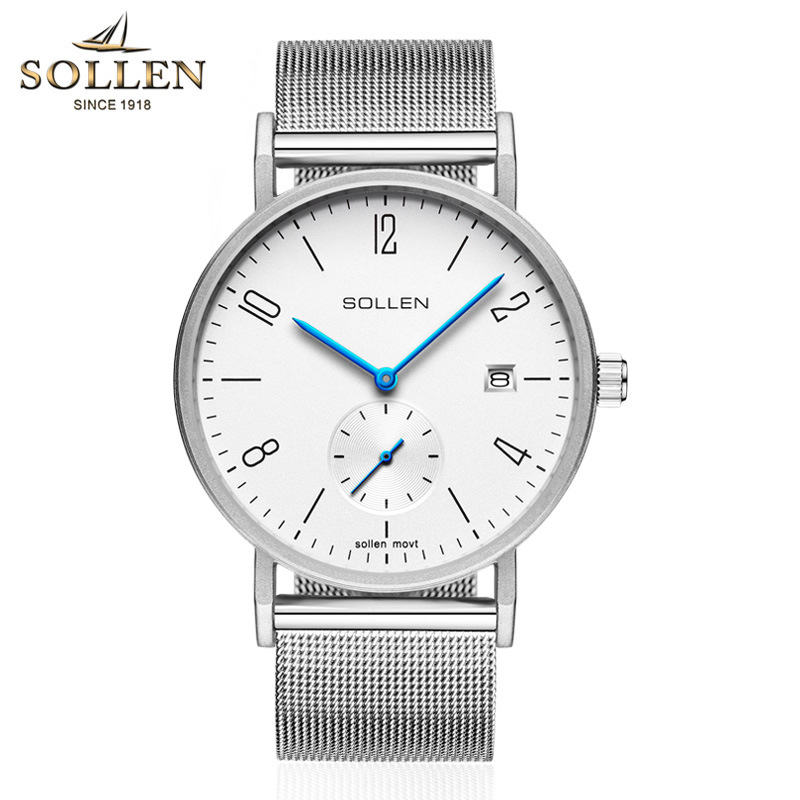 ФОТО men's quartz watch SOLLEN fashion top brand wristwatche white Big dial Steel mens watches top brand luxury relogio masculino