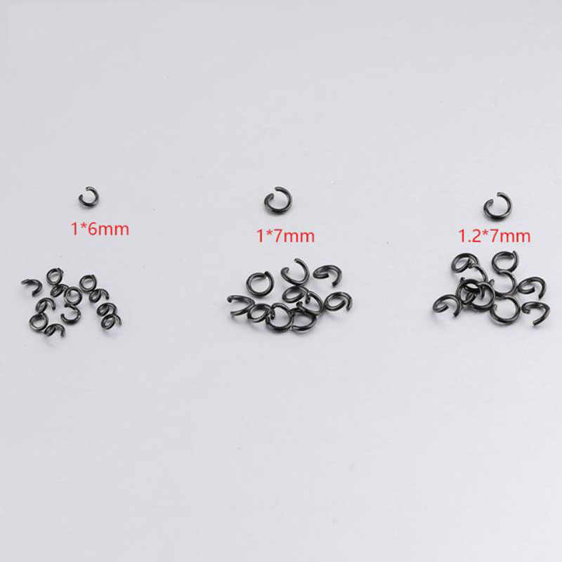 300pcs/lot Stainless Steel Black Color Jump Rings Single Loops Open Split Rings For DIY Jewelry Findings Accessories
