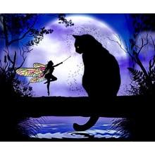 5D DIY Diamond Painting Cat   Cross Stitch Black  &Butterfly Fairy  Stick Drill Draw Rhinestone inverted purple butterfly print draw diamond drawing