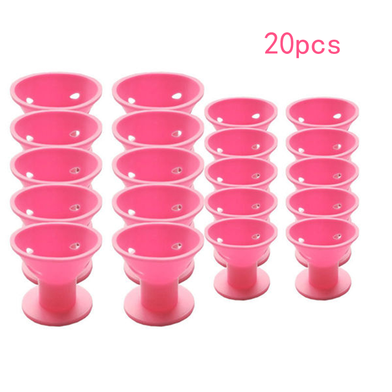 20PCS Curling tool of pink magic hair reel no clip no hot silicone hair curlers professional hair tools