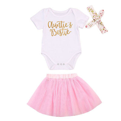 Newborn Baby Girls Clothes Set Letter Bodysuits Tops+Tulle Tutu Skirts+Headband 3pcs Summer Infang Two Piece Set Outfit Clothing