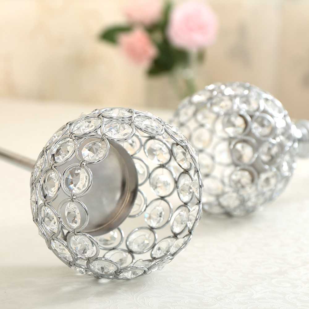 Tall Crystal Candle Holder Metal Silver Candlestick Home Decor Table Centerpieces Candelabra