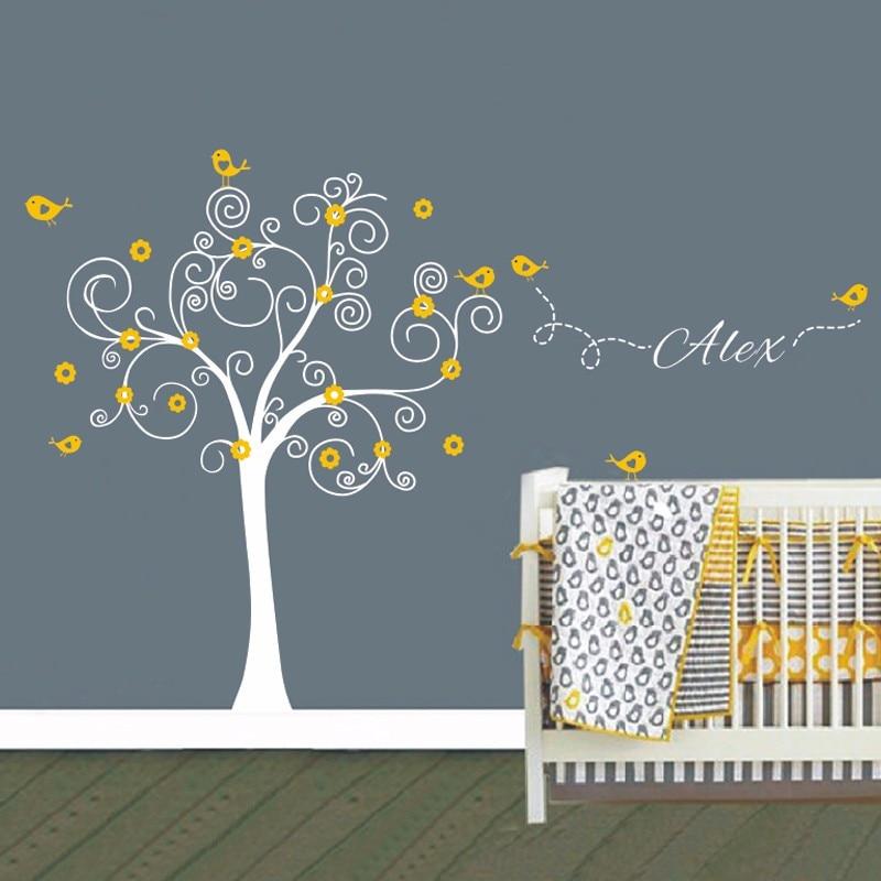 Énorme Stickers muraux d'arbre de pépinière avec des oiseaux fleurs vinyle Sticker mural amovible pépinière salle de jeux filles bébé chambre Stickers muraux