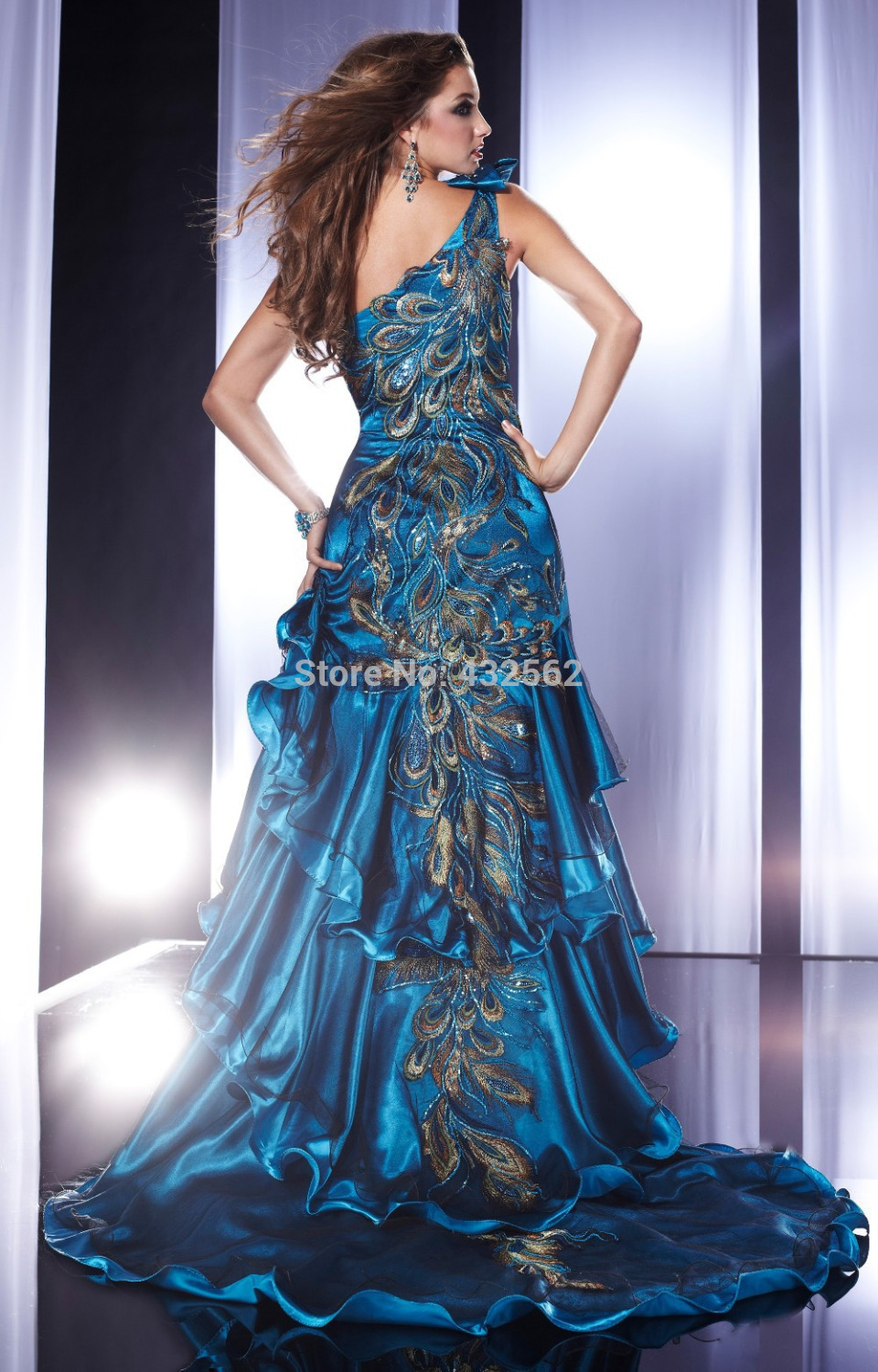 2014 New sexy Peacock feathers Scalloped High low Prom Dresses ...