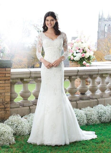 Vintage Style Modest 3/4 Length Sleeve Lace Wedding Dresses Mermaid ...