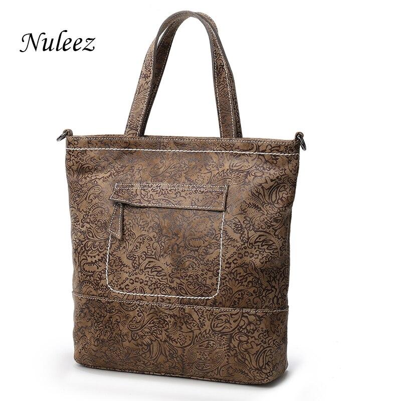 ff0916f8850d Nuleez Vintage Women Handbags Genuine Leather Big Bag Black Coffee Casual Ladies  Tote Crossbody Messenger Bags