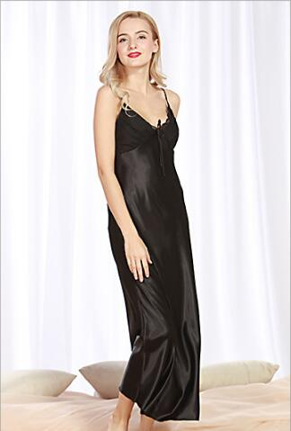 2018 Silk pajamas spring and summer ladies long long slit sexy strap pajamas
