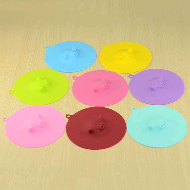 Мультфильм свинья пылезащитные герметичные чашки крышка изоляции конфеты цвета многоразовый силикон чашки крышка уплотнения крышка HHY