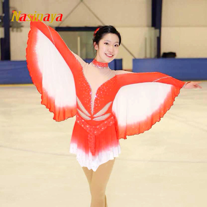 Customized Costume Ice Figure Skating Gymnastics Dress Competition Adult Child Girl Skirt Performance Orange Bat Sleeve vik max adult kids dark blue leather figure skate shoes with aluminium alloy frame and stainless steel ice blade