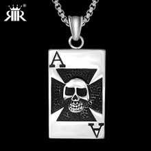 RIR Men cross Skull Poker Spade A Pendant Dog Tag Stainless Steel Necklace Silver Gold color Chain Gothic jewelry Funk style