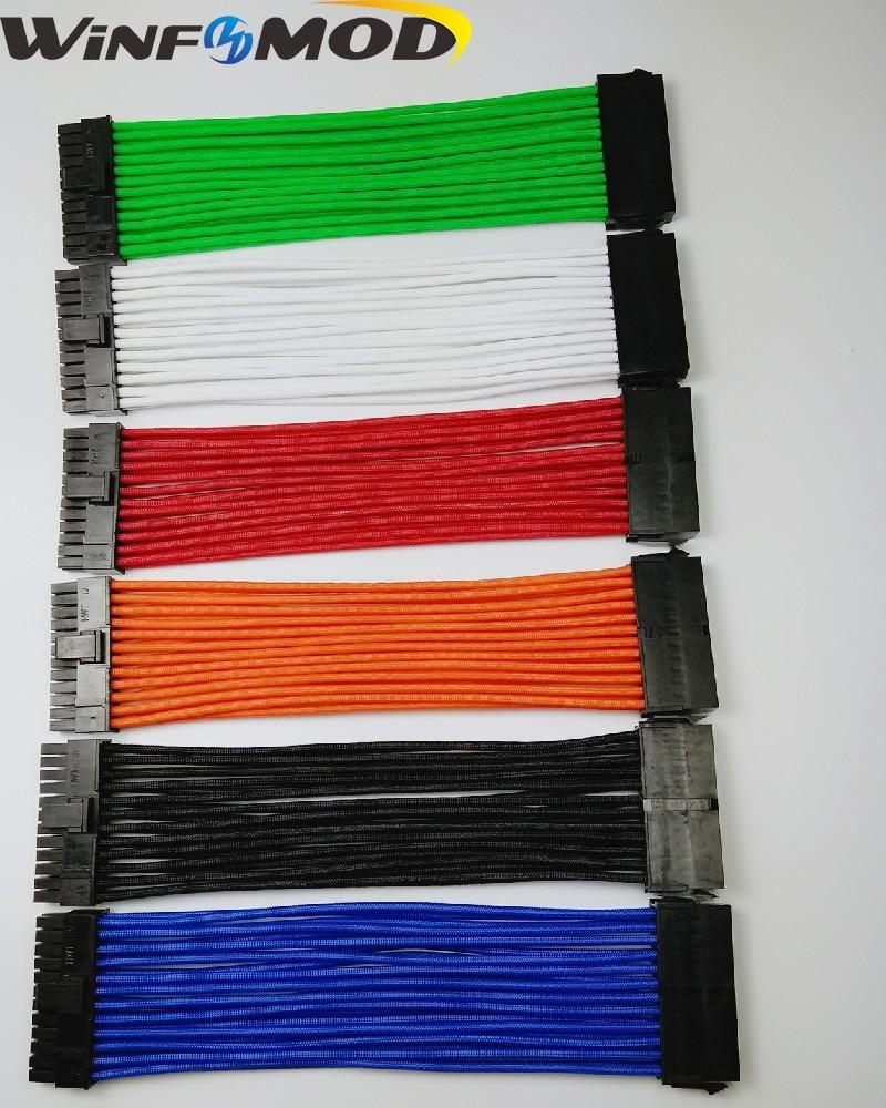 MB ATX 24PIN hembra a macho 20 + 4 P 18AWG PSU cable de extensión/cable con rojo/ azul/negro/Blanco/Verde/naranja mangas