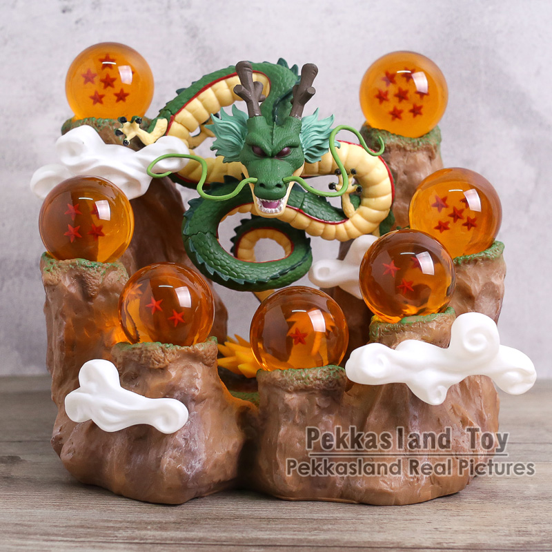 Dragonball Z Shenron Figure /& Mountain Stand /& Crystal Balls New Gold
