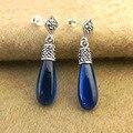 3 цветов подлинная Стерлингового Серебра 925 Природных полудрагоценных камней Старинные Серебристо-голубой корунд Агат Серьги Новый Женский