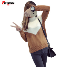 2016 Fall and Winter New Women's Casual Wear Round neck Long-sleeved Pullover Loose Wool Sweater Warm Lady Knit Sweater