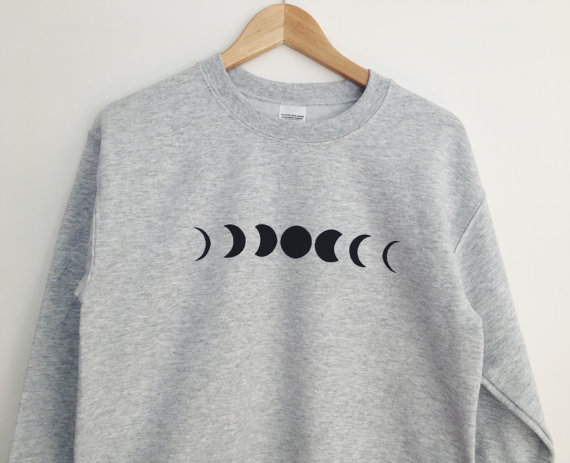 new arrival Unisex women mens sweatshirt high quality jumper hoodies Moon Phase Printed Grey Crewneck Sweatshirt