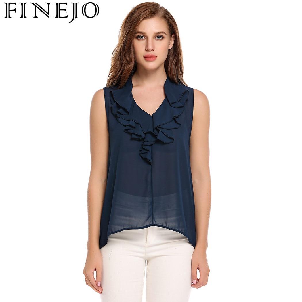 d1683738e4fba7 FINEJO Sexy Perspective chiffon Blouse Shirt Women Summer Ruffle V-Neck  Sleeveless Blouses Elegant Asymmetrical Hem Blusas 2017