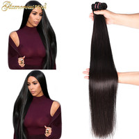 Long length Indian straight remy human hair weave bundles 1 piece deal 26 40 Inches natural Black Color hair extension On Sale