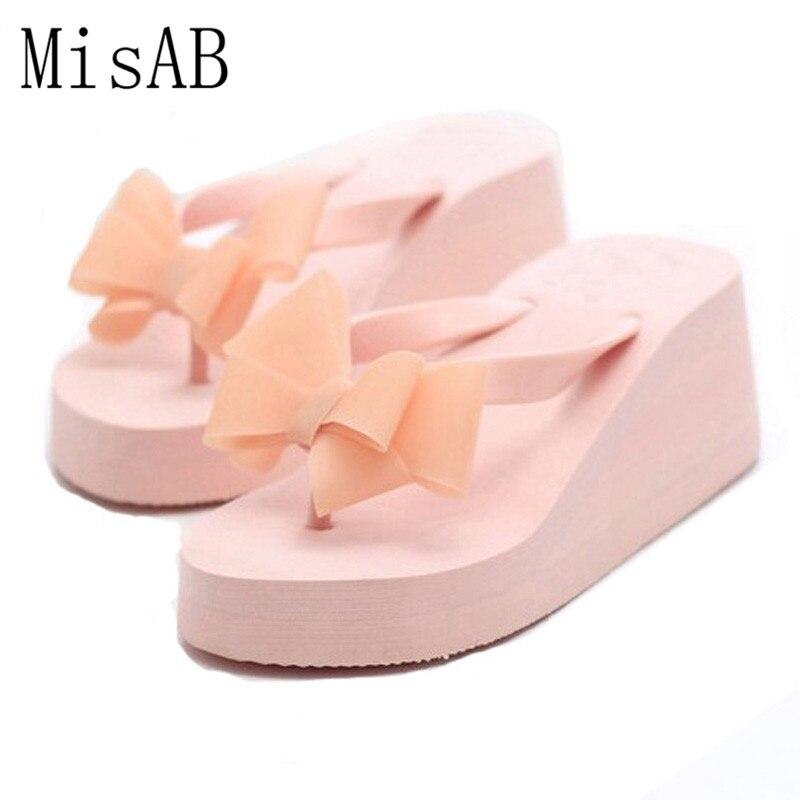 Free Shipping Women Sandals 2018 Flowers Wedges Summer Sandals sweet bowtie Women platform Beach Flip Flops Women Shoes ALF108