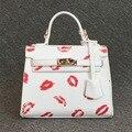2016 Brand Single Clutch Platinum Diagonal Small Bag Handbags With Sexy Red Lips Printing Small Tote Shoulder Bag Crossbody Bags