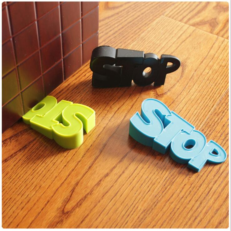 Cute Cartoon Letters Stop Style Door Stopper Silicone Doorstop Safety For Baby Home Decoration Edge Corner Guards