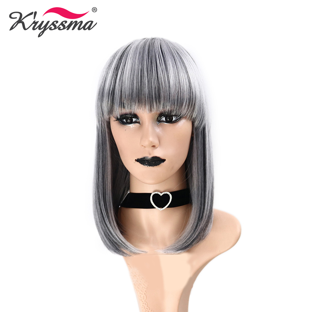 Short Bob Wigs with Flat Bangs Grey Straight Synthetic Wigs for Women Highlight White Heat Resistant Fiber Full Machine Made