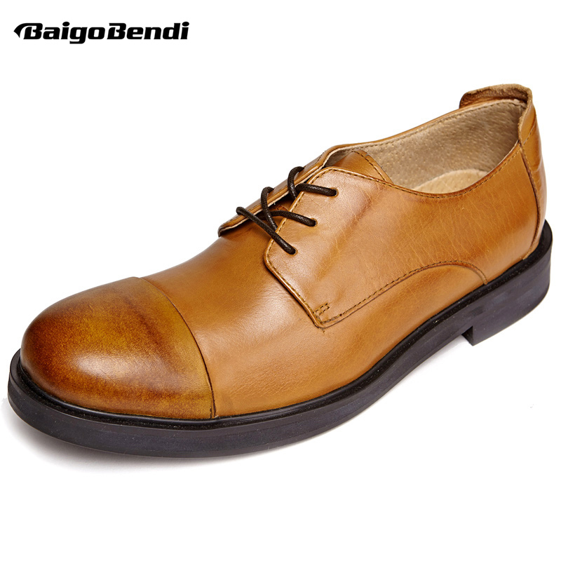 British Style Classical Genuine Leather Elegant Men Shoes Retro Lace Up Oxford Business Man Cap Toe Casual Shoes zdrd new fashion genuine leather men business casual shoes british low top lace up suede leather mens shoes brown red men shoes