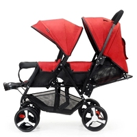 Twin baby stroller double stroller lightweight folding reclining front and rear stroller