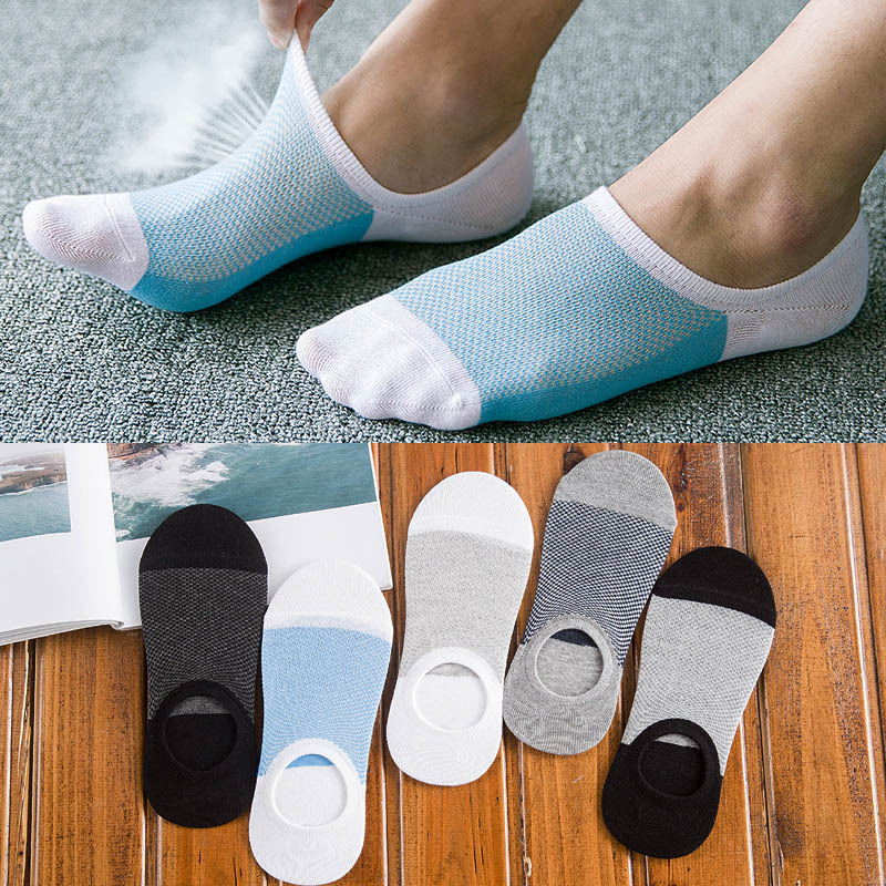 5 Pairs/lot Summer Mesh Breathable Cotton Socks Fashion Spell Color Silicone Non-slip Short Socks Casual Invisible Men's Socks