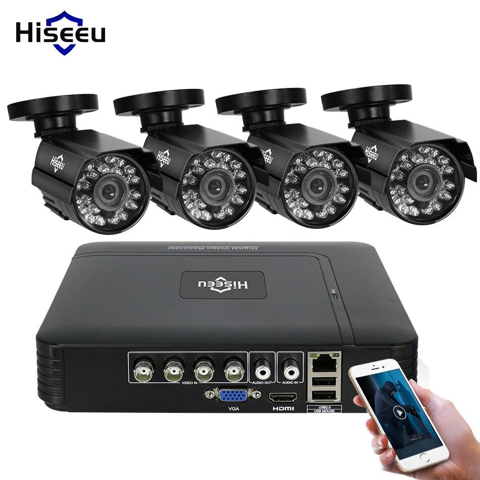 Hiseeu Câmeras de Segurança Em Casa Sistema de Kit de Vigilância de Vídeo CCTV 4CH 720 p AHD 4 pcs Ao Ar Livre Sistema de Câmera de Segurança