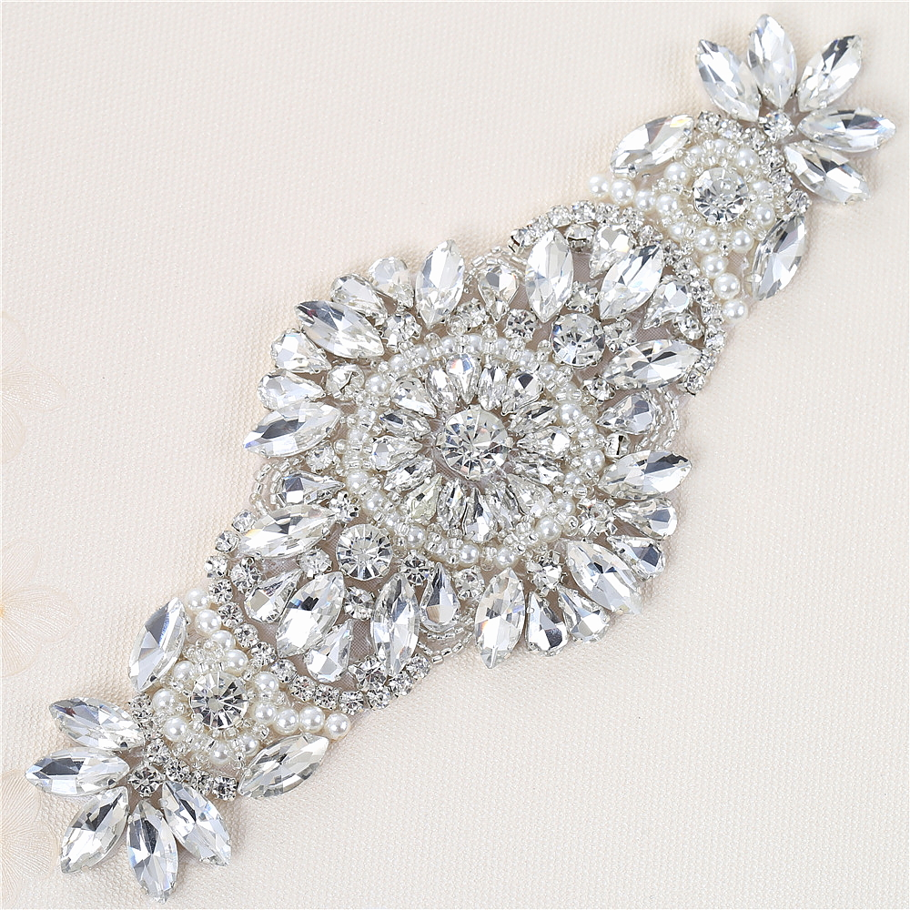 Wedding Rhinestone Applique Glass Shiny Appliques Patch Pearls Rhinestone  Iron On Sash Belts ... 0b5e48b729a9
