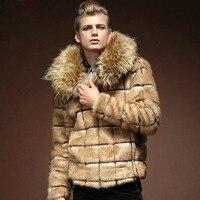 Бесплатная доставка новинка 2015 мужчины носят зимой пальто с мехом меха шеи зимняя куртка мужские большие размеры модная мужская куртка